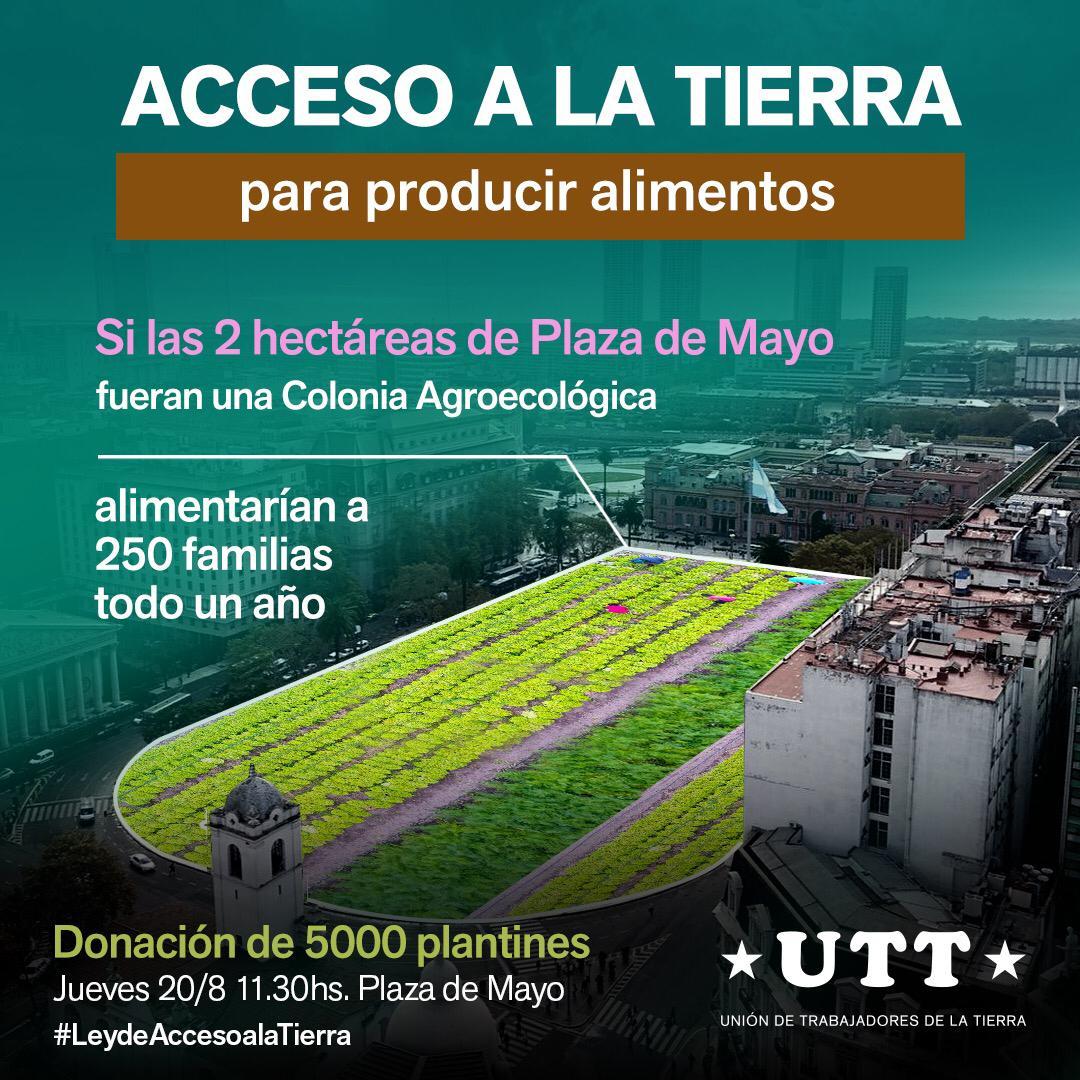 La UTT instalará una chacra agroecológica en la Plaza de Mayo